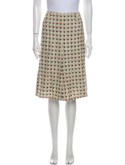 Chanel Tweed Pattern Knee-Length Skirt Green
