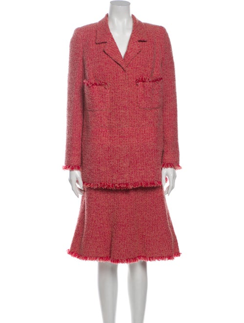 Chanel Tweed Pattern Skirt Suit Red