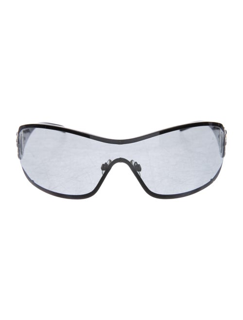 Chanel Camellia Shield Sunglasses Silver