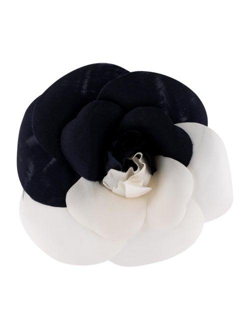 Chanel Satin Camellia Brooch Silver