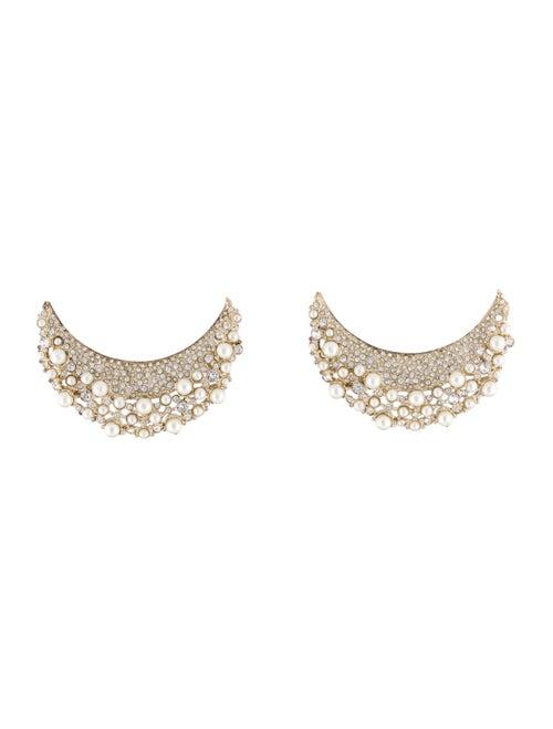 Chanel Strass & Faux Pearl Moon Earrings Gold