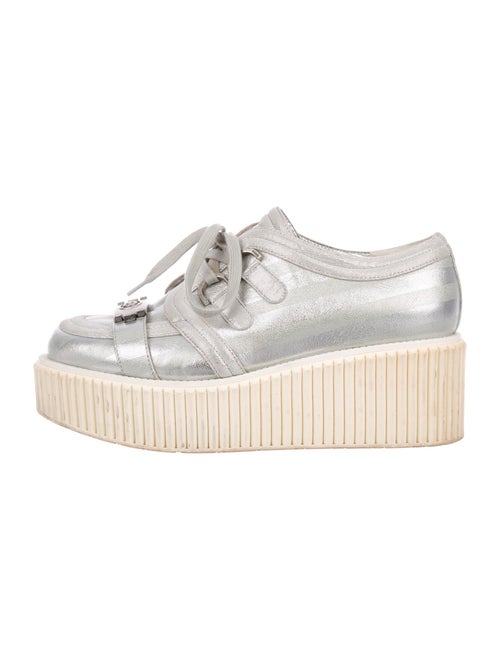 Chanel Leather Sneakers Silver