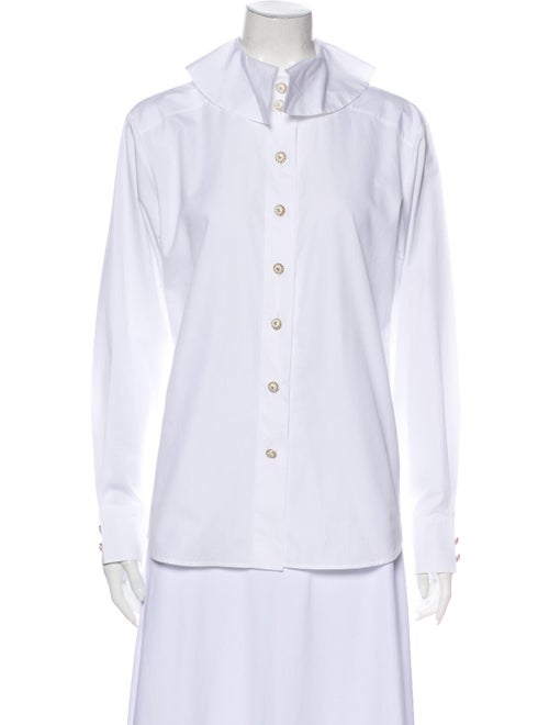 Chanel 2019 Long Sleeve Button-Up Top White