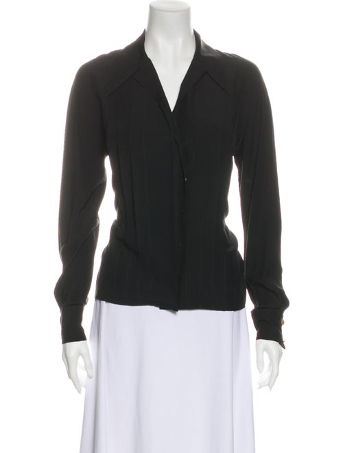 Chanel Vintage Long Sleeve Button-Up Top Black