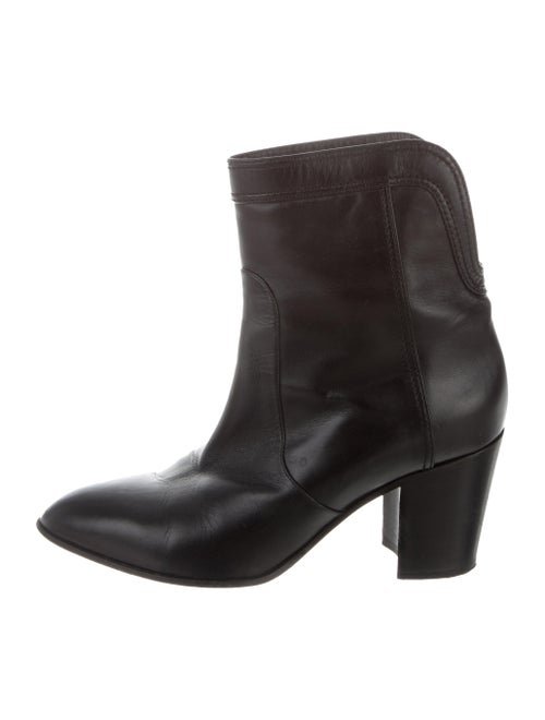 Chanel Leather Ankle Boots Black