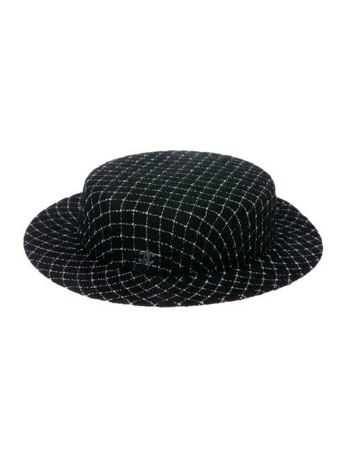 Chanel Fantasy Tweed Boater Hat Black