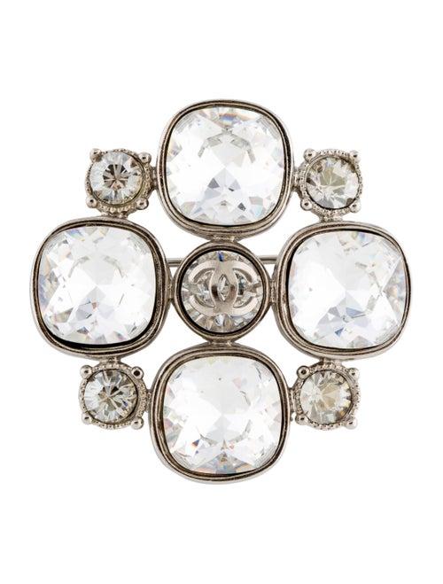Chanel Strass CC Brooch Silver