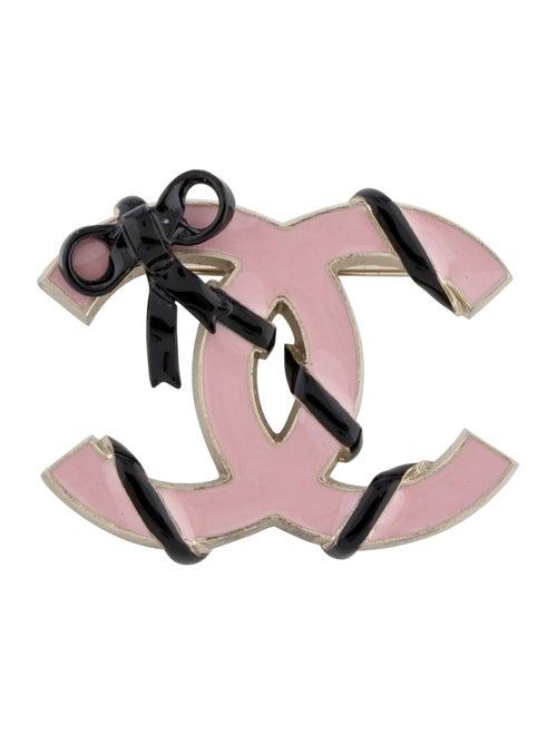 Chanel Enamel CC Bow Brooch Gold
