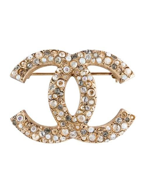 Chanel Strass CC Brooch Gold