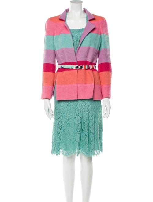 Chanel 2016 Colorblock Pattern Skirt Suit Blue