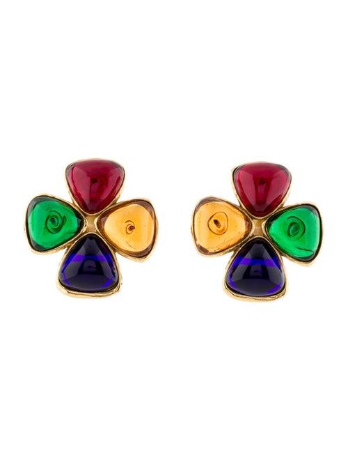 Chanel Vintage Gripoix Quatrefoil Earrings Gold