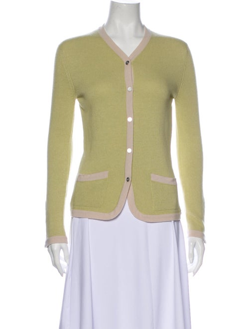 Chanel 2003 Cashmere Cardigan Sweater Green
