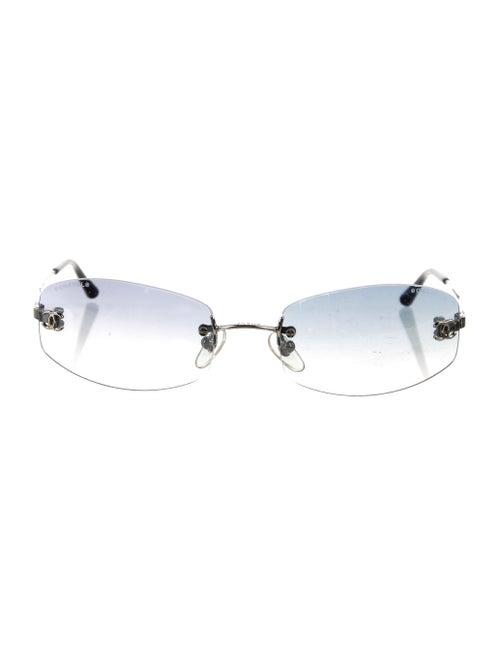 Chanel CC Rimless Sunglasses Silver