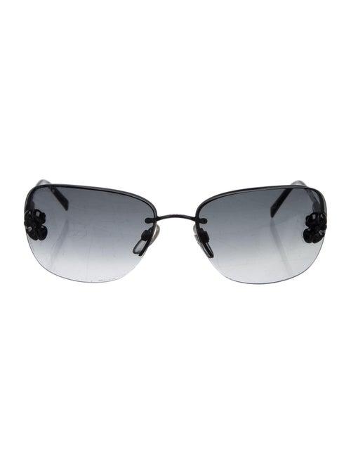 Chanel Camellia Rimless Sunglasses black