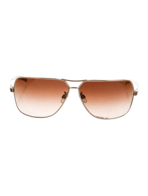 Chanel Lizard-Trimmed Aviator Sunglasses Gold