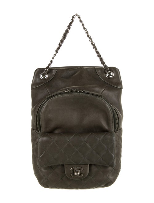 Chanel Lambskin Drawstring Backpack Grey