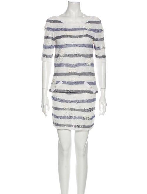 Chanel 2017 Striped Skirt Set Blue