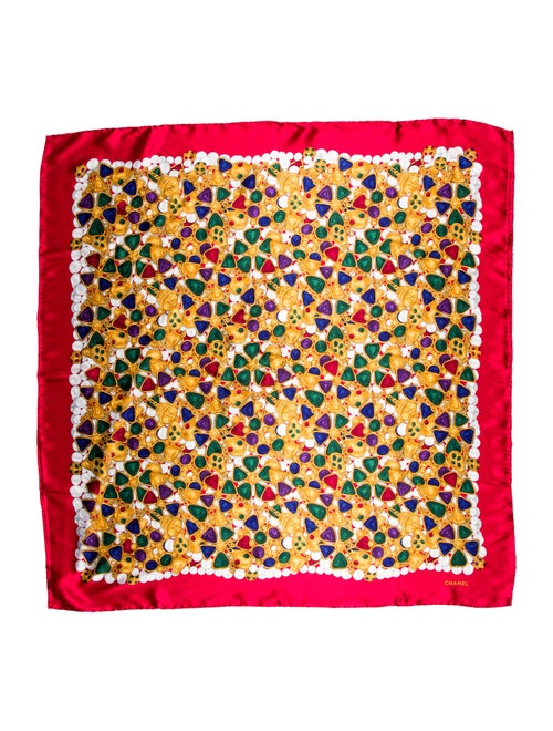 Chanel Vintage Gripoix CC Scarf Red