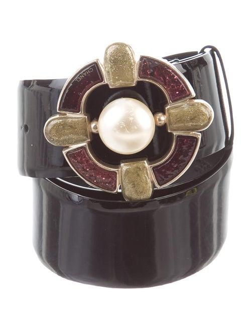 Chanel Gripoix Patent Leather Belt Black