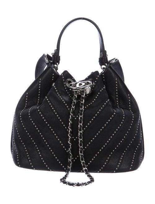 Chanel Studded Chain Bucket Bag Black