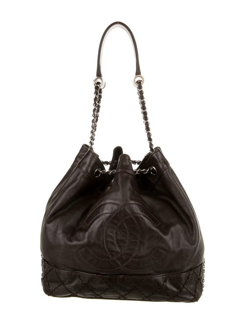 Chanel CC Leather Bucket Bag Brown