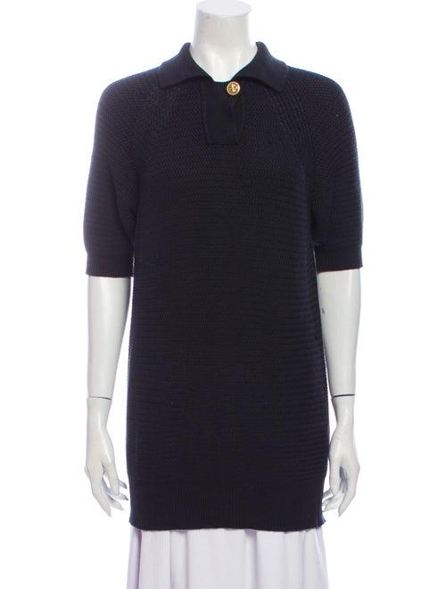 Chanel Vintage Mock Neck Sweater Black