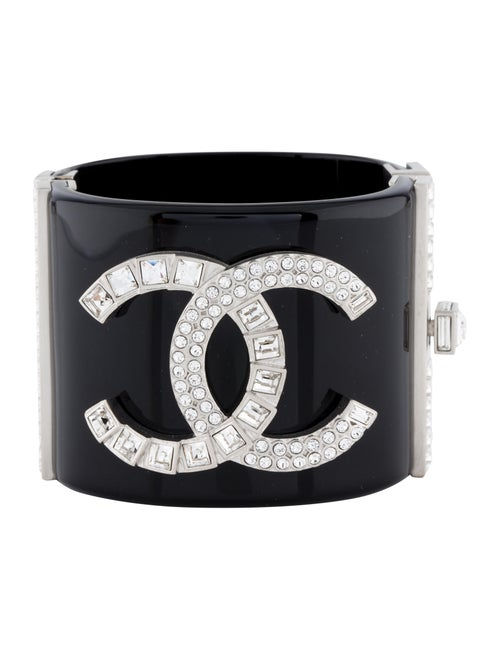 Chanel Strass CC Bracelet Silver