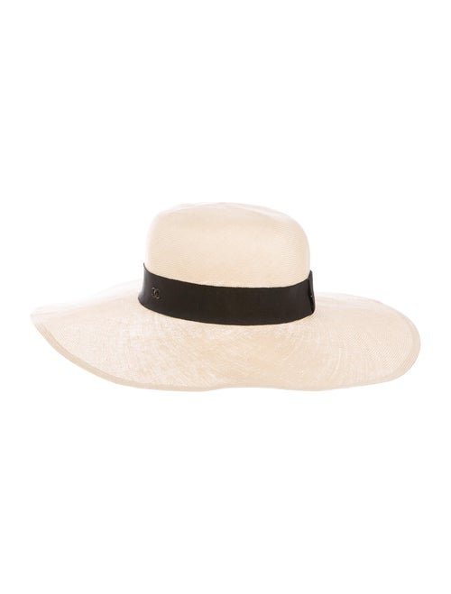 Chanel Straw Wide Brim Hat Tan