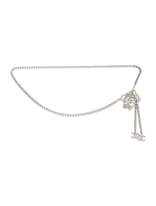 Chanel Crystal Camellia Chain Belt Silver