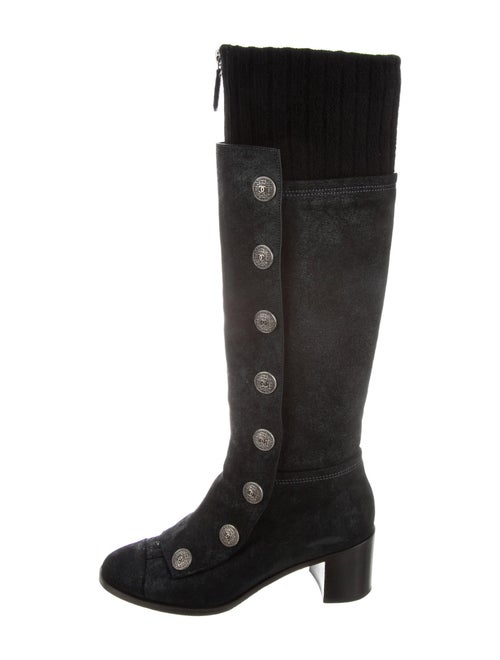 Chanel Suede Riding Boots Black