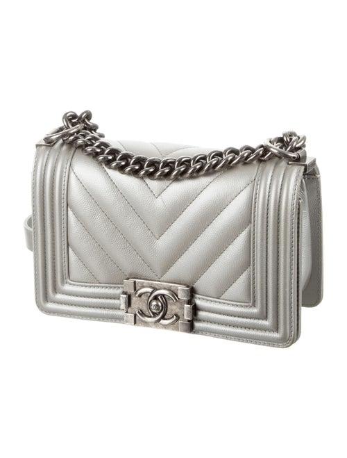 Chanel Chevron Small Boy Bag Metallic