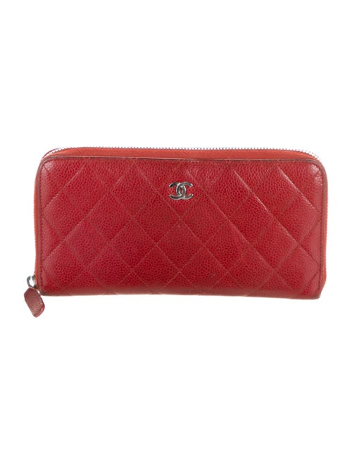 Chanel Quilted Caviar L-Gusset Wallet Red