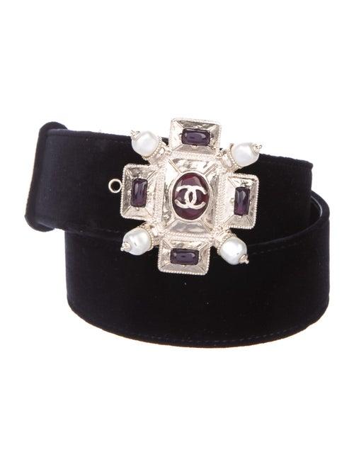 Chanel Velvet Gripoix Belt Black