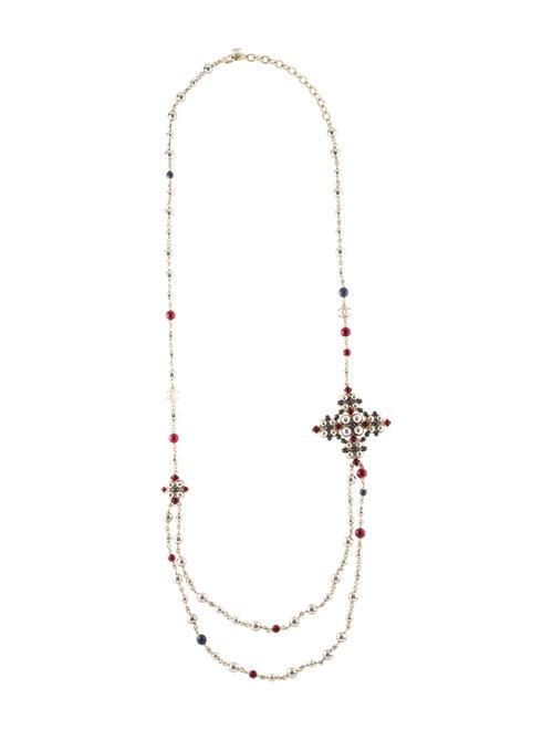 Chanel Gripoix & Bead Double Strand Necklace Gold