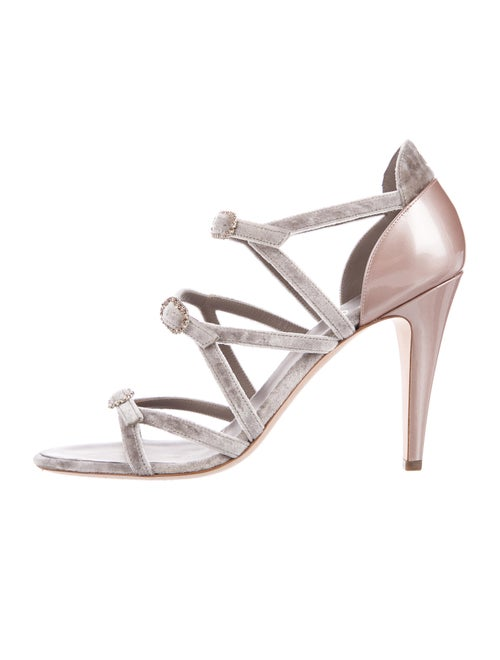 Chanel 2017 Interlocking CC Logo Sandals Metallic