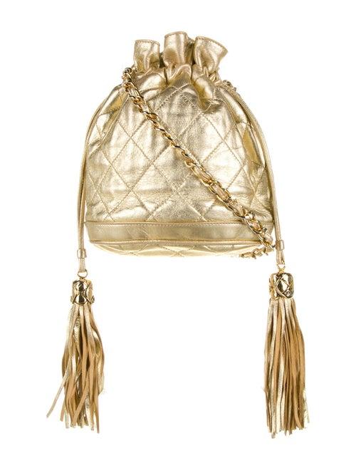 Chanel Vintage Leather Bucket Bag Gold