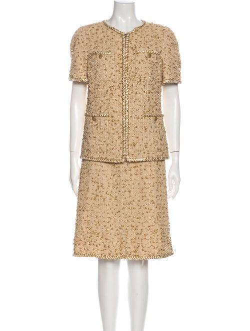 Chanel 2019 Tweed Pattern Skirt Suit w/ Tags Metal