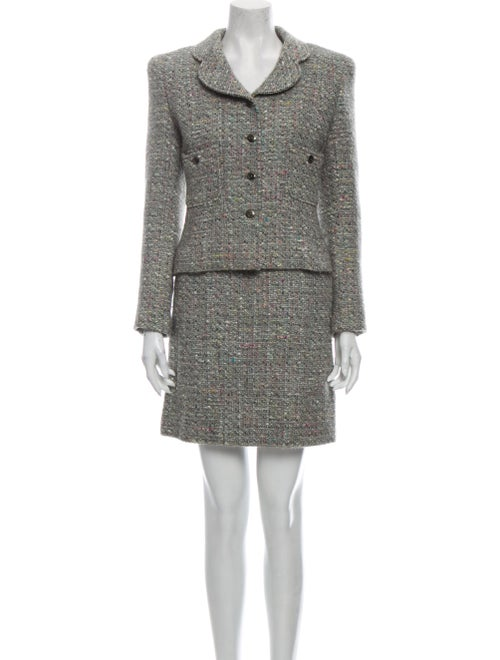 Chanel 1997 Tweed Pattern Skirt Set Grey