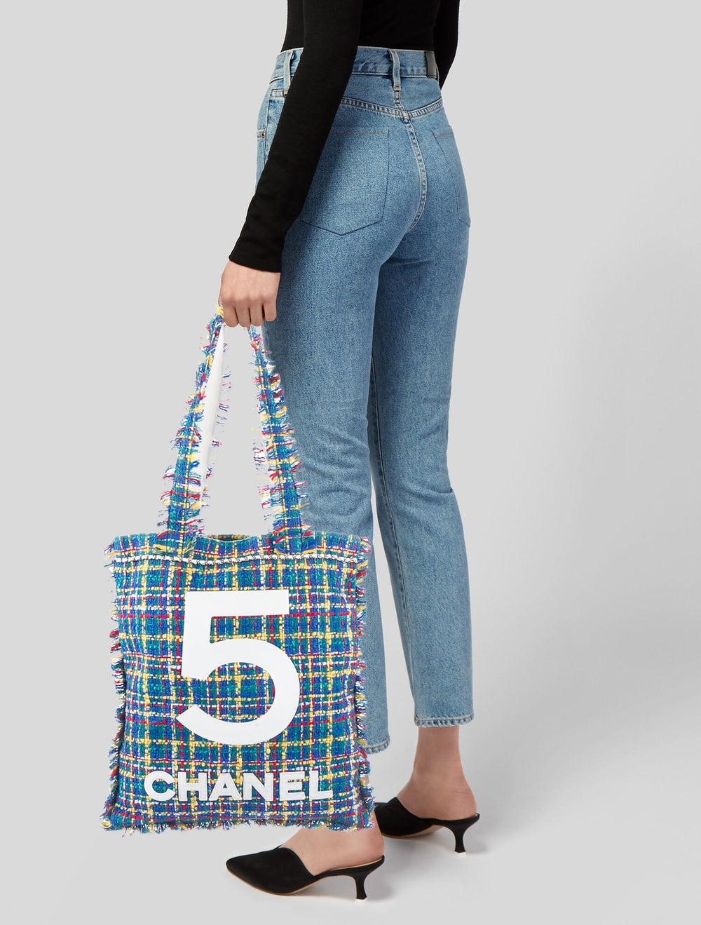 Chanel Large Tweed Shopping Bag Blue - image 2