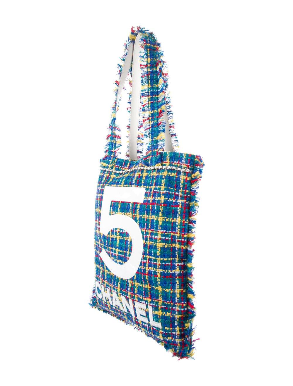Chanel Large Tweed Shopping Bag Blue - image 3