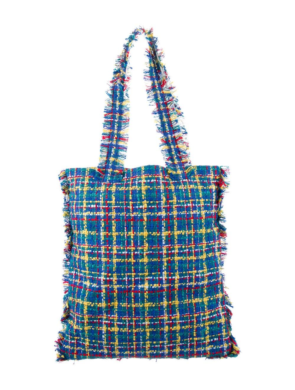 Chanel Large Tweed Shopping Bag Blue - image 4