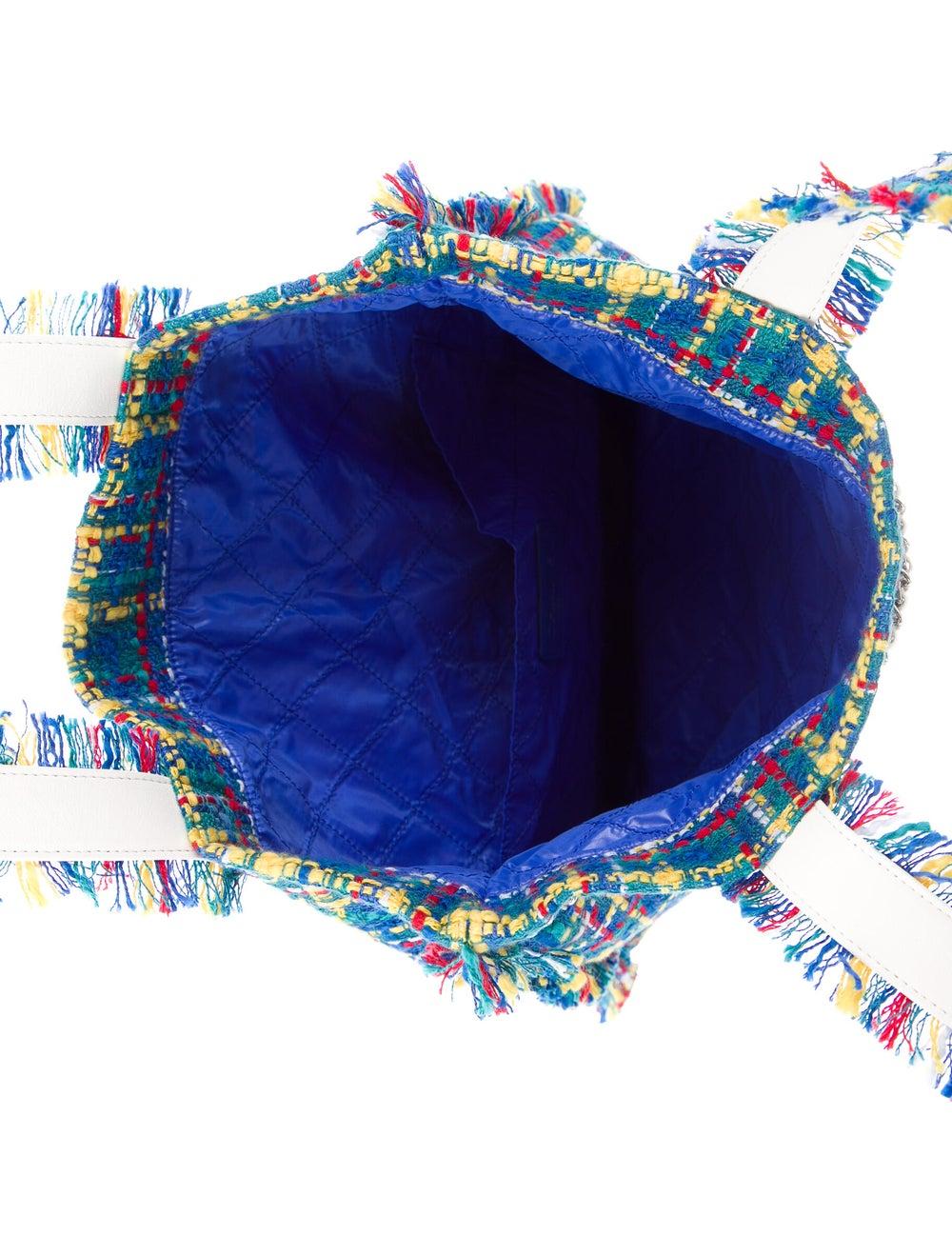 Chanel Large Tweed Shopping Bag Blue - image 5