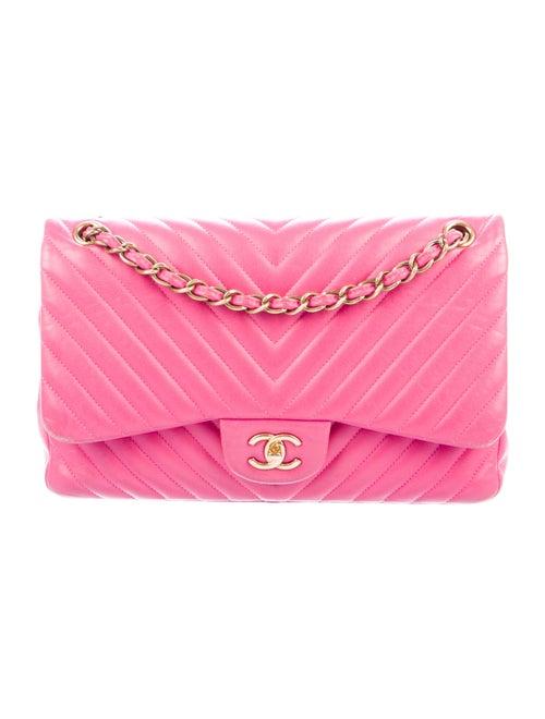 Chanel Chevron Jumbo Classic Double Flap Bag Pink - image 1
