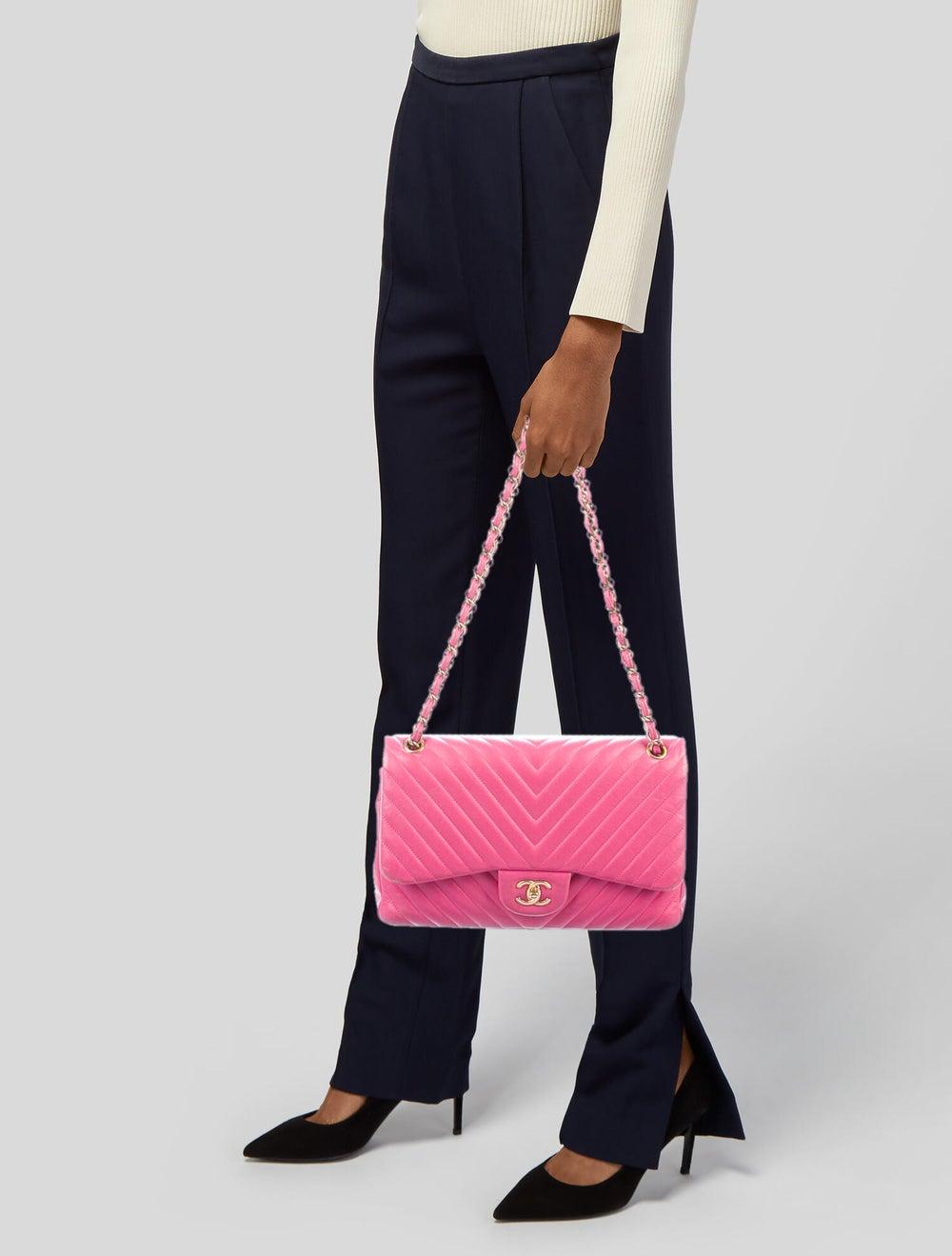 Chanel Chevron Jumbo Classic Double Flap Bag Pink - image 2