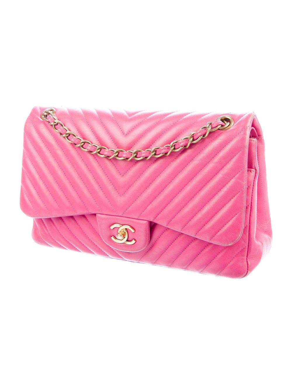 Chanel Chevron Jumbo Classic Double Flap Bag Pink - image 3
