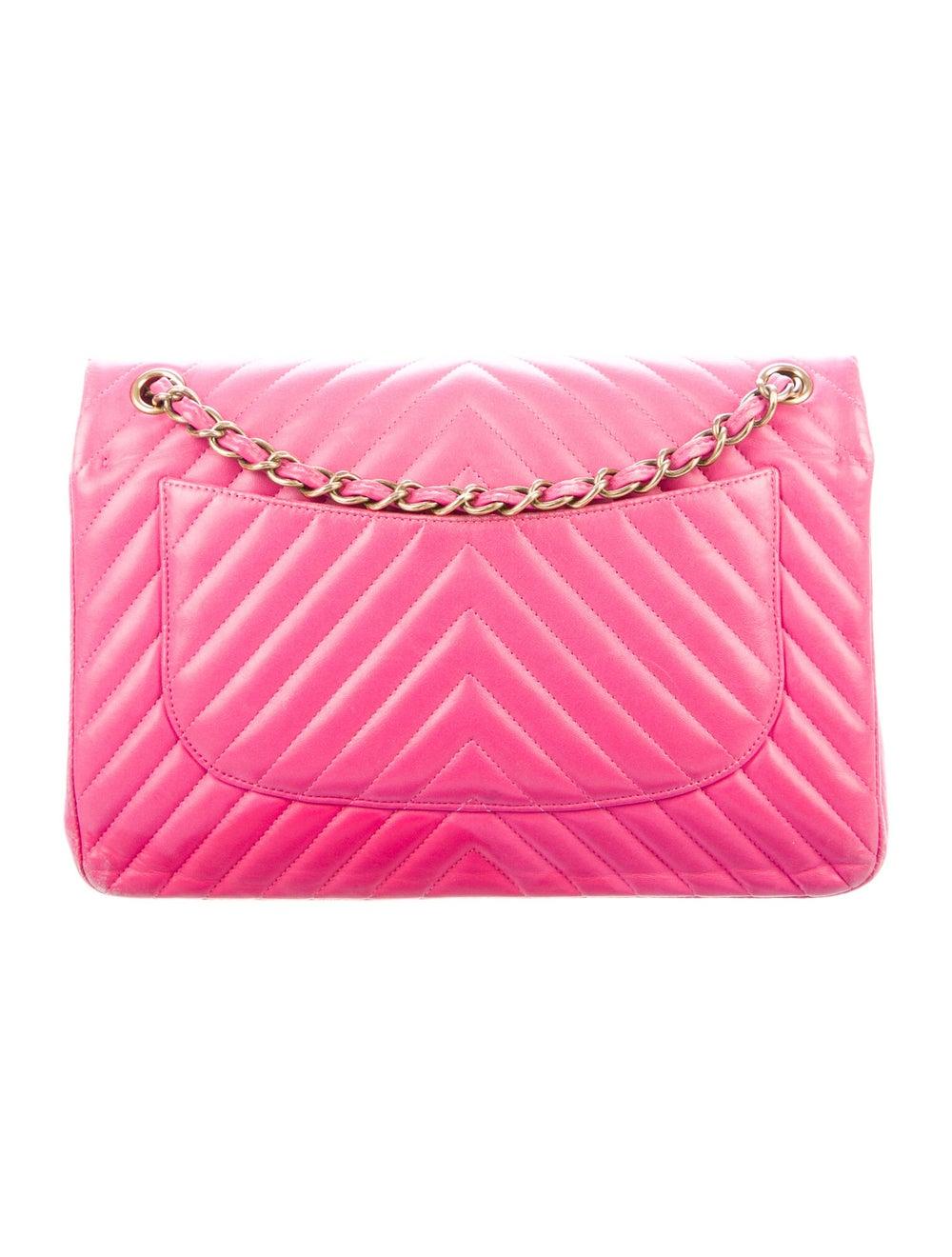 Chanel Chevron Jumbo Classic Double Flap Bag Pink - image 4
