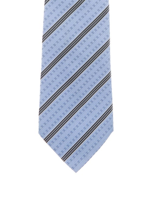 Chanel Silk Striped Tie blue