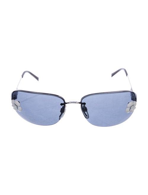 Chanel Rimless Camellia Sunglasses Silver