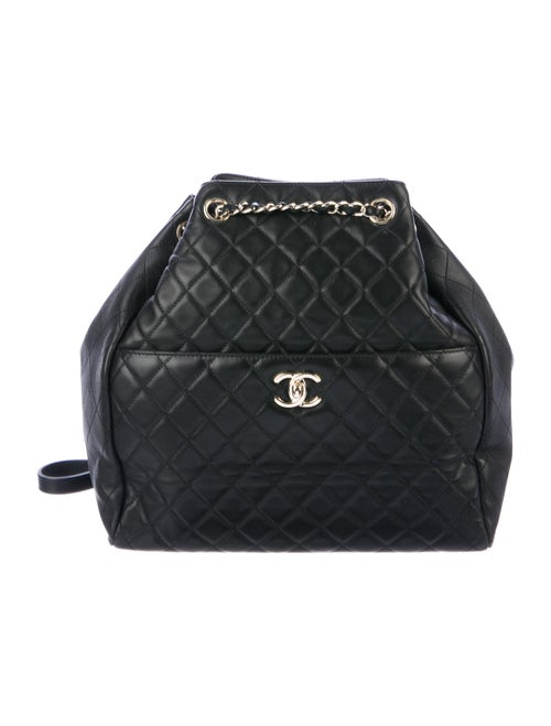 Chanel Quilted Drawstring Bucket Bag Black