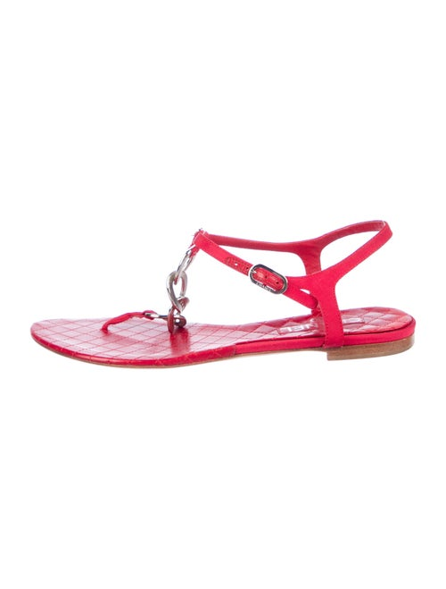 Chanel 2009 Interlocking CC Logo T-Strap Sandals R